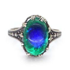 Vintage Art Noveau Sterling Silver Peacock Eye Foil Glass Ring | Clarice Jewellery | Vintage Jewellery | Vintage Costume Jewellery