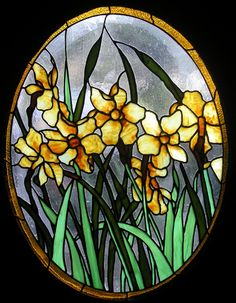 """A masterpiece titled, """"Daffodils,"""" by TheGlassPeacock on Etsy.  Measures 17.5 x 22.5"""" oval."""