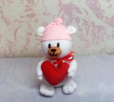 Soft Sock Toy Teddy Bear in Cap and Bow on Neck от TanyaSockToys, $25.00