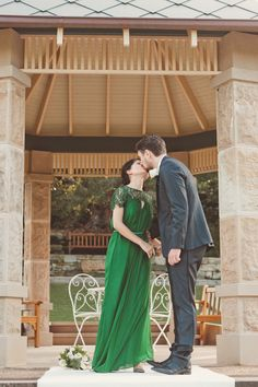 Be an out of the box bride - wear an emerald colored wedding dress #emerald #wedding