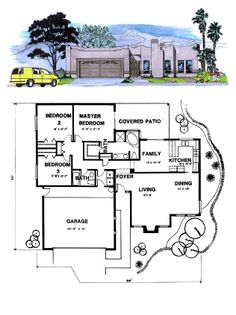 Santa Fe House Plan 54604 | Total Living Area: 1511 sq. ft., 3 bedrooms & 2 bathrooms. #santafestyle #houseplan