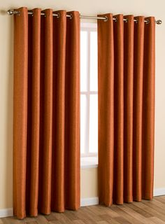 Terracotta textured woven eyelet curtain