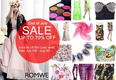 *SALE ALERT*  Unfold your free style with Romwe items, such as sweet, sexy, punk etc. Don't miss their end of July sale from July 30 to August 5, 2013!  Go find your right pieces here> http://www.romwe.com/End-of-July-Sale-c-213.html?HOTFUNSTUFFS