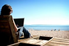 Working at the beach only with your notebook