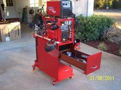 Excellent idea! Old steel filing cabinet on castors = welding cart w/storage.