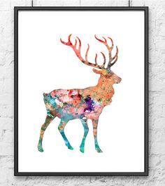 Acuarela pintura ciervos arte acuarela lámina por Thenobleowl