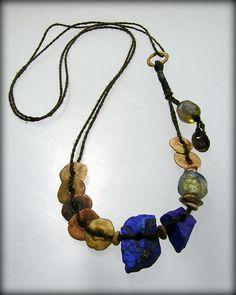 Urban Primitive, Bronze Moon Goddess Necklace ... bronze, lapis & basha beads ... kathy van kleeck