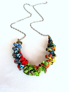 African wax print fabric necklace