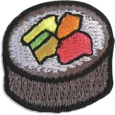 "Satisfy your craving with our sushi patch! The Sushi hipstapatch™ is an embroidered fabric patch that measures approximately 1"" x 1"" with a peel-and-stick adhesive backing. Stick it on your shoes, hat"
