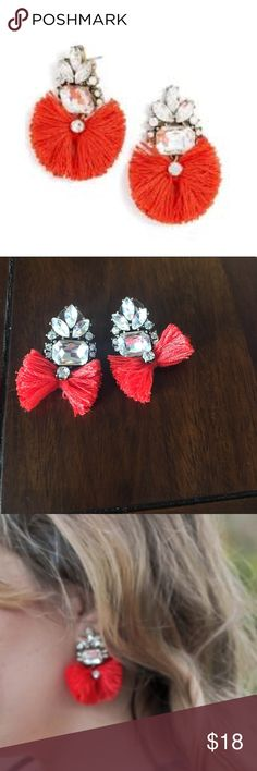 Bauble Bar red flamenco drop earrings Bauble Bar red flamenco drop statement earrings. Crystal Rhinestone cluster with bow. Bauble Bar Jewelry Earrings