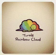 Turtle Rainbow Cloud @turtlewayne Cute Turtle Drawings, Animal Drawings, Cute Drawings, Sweet Turtles, Cute Turtles, Tiny Turtle, Turtle Love, Kawaii Turtle, Cartoon Turtle