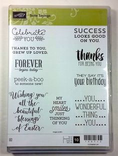 Stampin' Up! SUITE SAYINGS Clear Mount Stamp Easter Baby Birthday Love NEW #StampinUp #Background