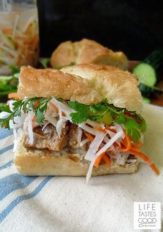 Vietnamese Pork Sandwich Recipe Banh Mi Recipe on Yummly Sandwich Au Porc, Sandwiches, Sandwich Recipes, Pork Recipes, Asian Recipes, Cooking Recipes, Roast Pork Sandwich, Asian Food Recipes, Vietnamese Sandwich