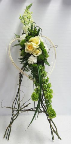 Here's a couple photos from our Oasis Floral Products training with Loann Burke!/ Beautiful floral tribute, can be designed at Callaraes Floral Events Funeral Floral Arrangements, Modern Flower Arrangements, Church Flowers, Funeral Flowers, Flower Centerpieces, Flower Decorations, Funeral Sprays, Grave Decorations, Memorial Flowers
