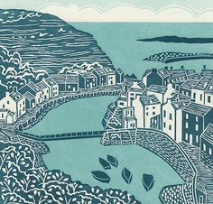 'Staithes', Yorkshire. Limited edition linocut print. My linocut prints are inspired by nature; my love of gardening and the great British countryside. I love exploring the countryside by bike or on foot, camera in hand, capturing ideas for my next prints. www.michellehughes.co.uk