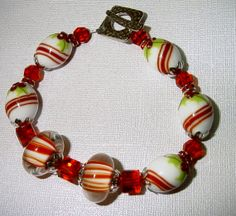 Peppermints and Holly Lampwork Christmas Bracelet by judesjujus, $95.00