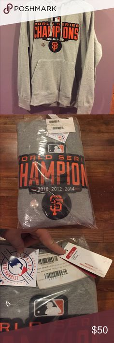 NWT Giants World Series Champions sweatshirt Grey, new in bag/with tags. MLB San Francisco Giants World Series 2010-2012-2014 champs!!  Own a piece of baseball history! Make an offer! Hard to find, super rare! Antigua Shirts Sweatshirts & Hoodies