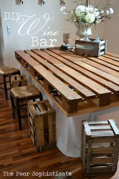 Turn the pallet into all sorts of things including these fantastic pallet Bars and Tables . #diy #pallet #bar