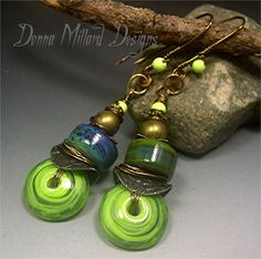 SRA LAMPWORK EARRINGS Donna Millard dangle lime green