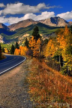 The Roads of Autumnby, Rocky Mountain National Park, Colorado...wish I could have seen this on my recent trip to Aspen, but the leaves had already fallen.  Was still beautiful!