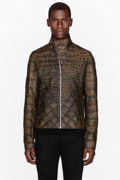Rick Owens Olive Wild Alligator Leather Hun Jacket for men | SSENSE