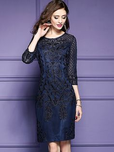 Fashion O-Neck 3/4 Sleeve Mesh Embroidery Bodycon Dress from DressSure.com #dresssure #fashion #dresses #HighQuality