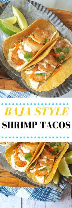 Baja Shrimp Taco Recipe with Chipotle Lime Crema Baja Style Shrimp Tacos with Chipotle Lime Crema Baja Shrimp Tacos, Shrimp Taco Sauce, Shrimp Taco Recipes, Fish Tacos, Mexican Food Recipes, Mexican Dishes, Fish Recipes, Yummy Recipes, Healthy Recipes