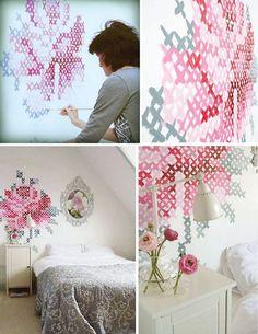 """Cross-stitch"" Wall Painting idea / Колоритно и фактурно: 20 креативных идей для декора стен и пола - Ярмарка Мастеров - ручная работа, handmade"