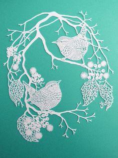 Wrens and Berries Personal Use Papercut Design Template - DIY Kirigami, Origami Paper Art, 3d Paper, Paper Crafts, Papercut Art, Paper Cutting Templates, Paper Artwork, Quilling Patterns, Art Original