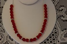 Red Glass Beaded Necklace with Silver Crystal by AngeleDesignsLA, $28.00