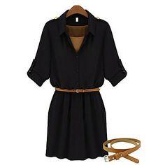 Das Shangya mulheres ocidentais Moda Noble alta waisting Vestido com cinto (preto) - BRL R$ 40,91