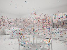 Yayoi Kusama's Obliteration Room in Give Me Love exhibit. David Zwirner Gallery.  #fun!