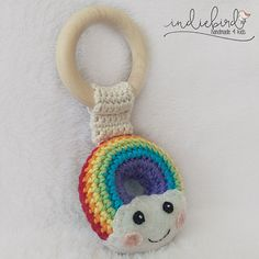 Rainbow Baby Crochet Rattle Wooden Teething Toy, Baby Teething Toy, Natural…