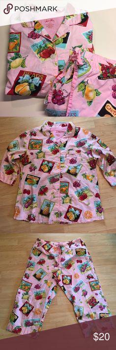 Nick & Nora Pj Set Adorably cute Pj Set. 3/4 sleeve and Capri length make these are great summer pj set. Like new condition. Drawstring waist. Nick & Nora Intimates & Sleepwear Pajamas