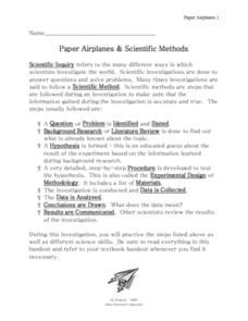 Paper Airplanes and Scientific Methods Worksheet