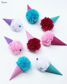 DIY Pom-Pom Ice Cream Cones by Artzy Creations. Make bigger verison to hang on a strand to have a banner of ice cream cones Cute Kids Crafts, Fun Diy Crafts, Summer Crafts, Yarn Crafts, Felt Crafts, Diy Christmas Gifts For Kids, Diy For Kids, Sewing Projects For Kids, Diy Craft Projects