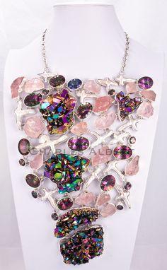 Style# LBUN17: Biwa Pearl, Rose Quartz & Titanium Treated Quartz set in sterling silver. Retail $ 5,400