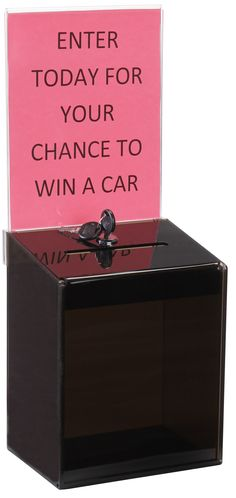 Acrylic Ballot Box w/ 6.5 x 8 Header & Lock, Wall Mount or Countertop - Black