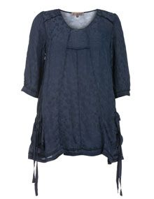 Exelle Cotton-blend chiffon tunic in Dark-Blue