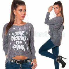 #Original #camiseta #mangalarga @mujer #diseño #holgado con #estampado de #efecto #alegre para #lucir un #look #diario de #estilo #joven #chic y #sexy que podras #complementar con todo tu #armario durante todo el #año. Encuentralo en #Tops y #Camisetas para @Mujeres de https://www.agiltienda.com/es/home/2311-sofisticado-sueter-mujer.html #online #shop @agiltienda.es