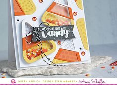 Adorable Candy Corn Shaker Card! How to make an easy shaker card. Halloween card. Queen and Company, Halloween Hoopla, Amy Sheffer. It's All About the Candy