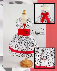 101 Dalmatians scratch puppy inspired spotted dress baby to adult