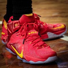 d799fbcb328  SoleWatch  Up Close With LeBron James  Red Yellow Nike LeBron 12 PE ...
