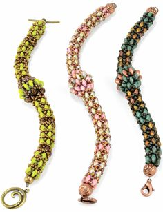 """Starman TrendSetter Chainon 90 SuperDuo beads, Color 1 50 SuperDuo beads, Color 2 11/0 Seed beads 10 CzechMates™ Lentils Finish: Clasp, Wire, 2 Crimp beads, Pliers. Crimp covers or spacer bead optional. The finished bracelet is 6 1/4"""" before clasp. Each SuperDuo row adds approx 1/4""""."""