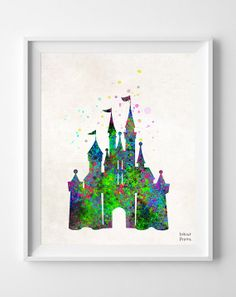 Disney Castle Print Watercolor Baby Room Nursery by InkistPrints, $11.95 - Shipping Worldwide! [Click Photo for Details]