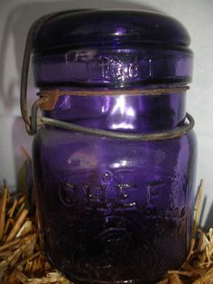 Deep Purple Chef Pint Vintage Canning Fruit Mason Jar SCA. - wow, love this!!!