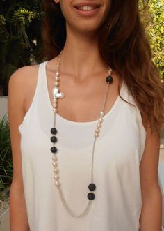 Baroque pearls necklace ,lava necklace, Huge baroque pearl, Nucleated White Pearl Necklace ,beads necklace,  silver chain necklace by immanu on Etsy https://www.etsy.com/listing/221823419/baroque-pearls-necklace-lava-necklace