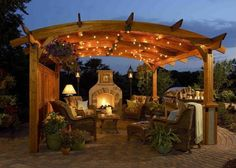 I love this.I would probably cob a homemade fireplace with some bricks for the front.(google cob ovens) and get hubby to build a simple arbor.Put out what outdoor furniture I have with some pillows and your ready to entertain.