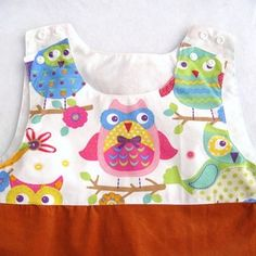 Robe fille automne 5 ans robe chasuble fille trapèze velours chouettes coton