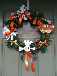 Canes burlap wreath UM Canes Wreath SEC Foootball wreath Florida Canes Wreath University if Miami colkege gift